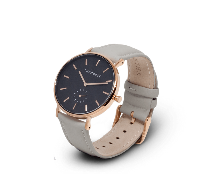 B9 The Horse Classic watch in Polished Rose Gold, Black dial with Grey leather