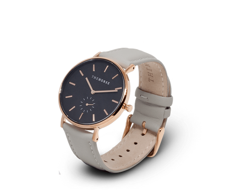 The Horse Classic watch in Polished Rose Gold, Black dial with Grey leather