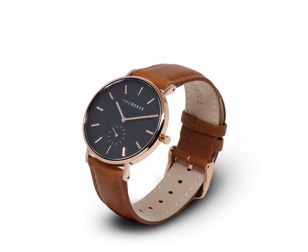 The Horse Watches The Horse Classic watch in Polished Rose Gold, Black dial with Tan leather