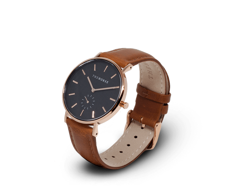 B8 The Horse Classic watch in Polished Rose Gold, Black dial with Tan leather