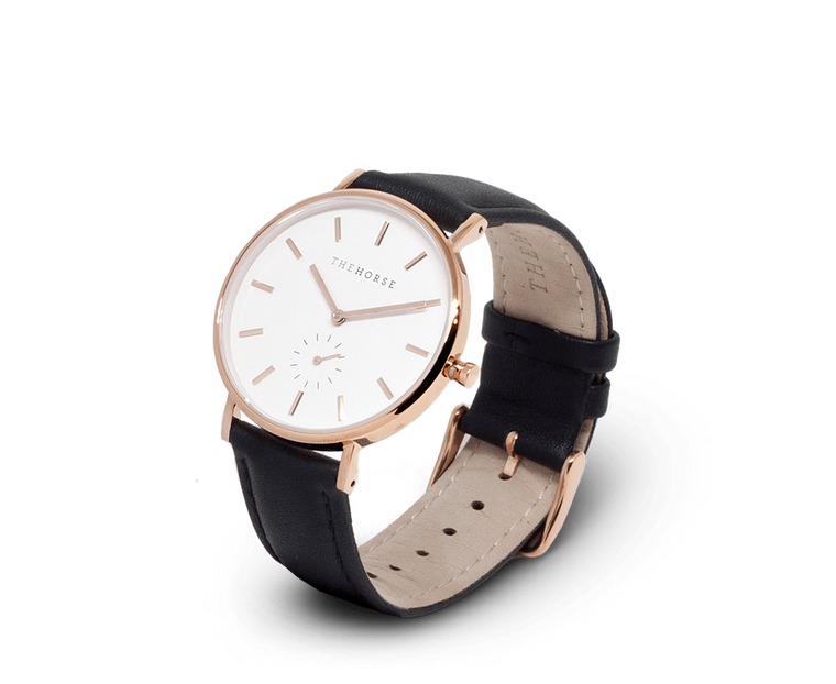 The Horse Classic watch in Polished Rose Gold, White dial with Black leather