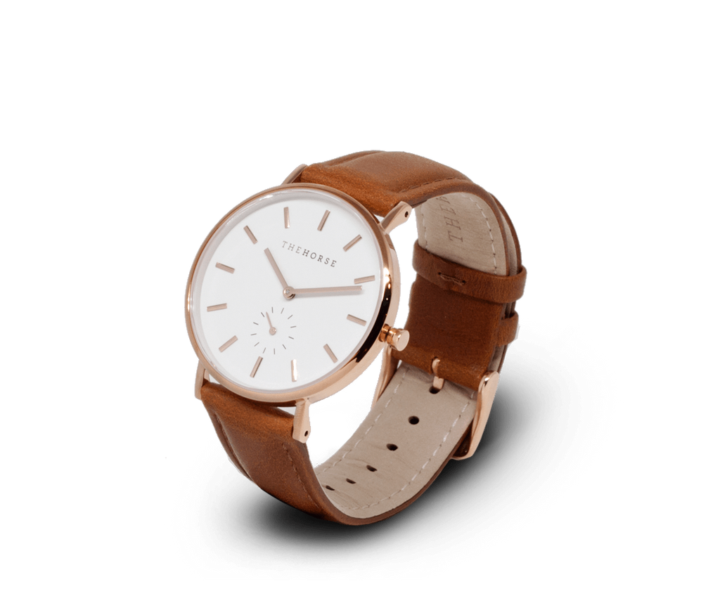 The Horse Watches The Horse Classic watch in Polished Rose Gold, White dial with Tan leather