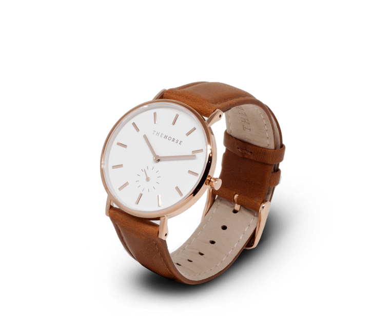 The Horse Classic watch in Polished Rose Gold, White dial with Tan leather