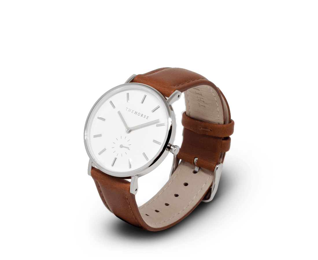 The Horse Watches The Horse Classic watch in Polished Steel, White dial with Tan leather