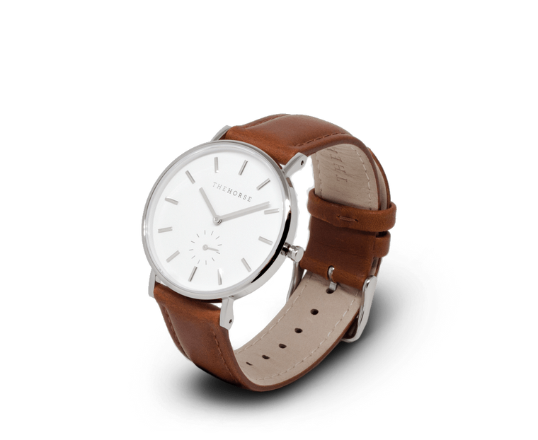 The Horse Classic watch in Polished Steel, White dial with Tan leather