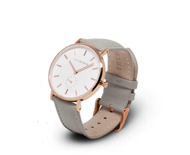 The Horse Classic watch in Rose Gold and White with Grey