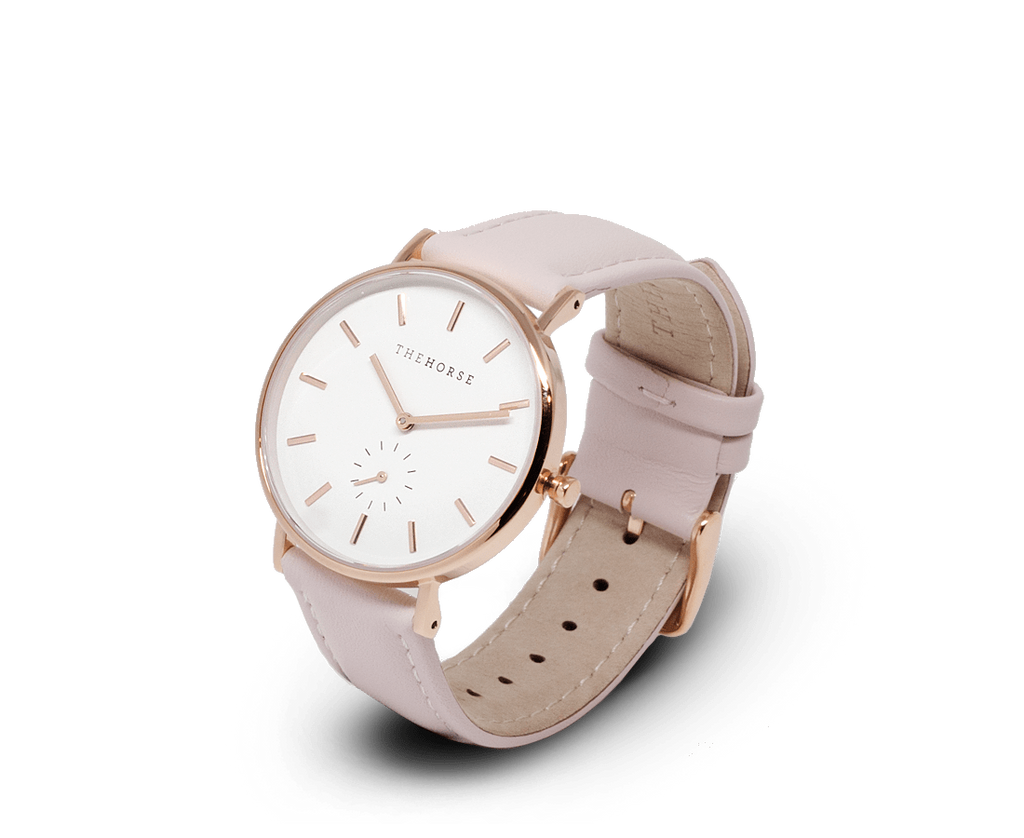 The Horse Watches The Horse Classic watch in Rose Gold, White dial with Pink leather