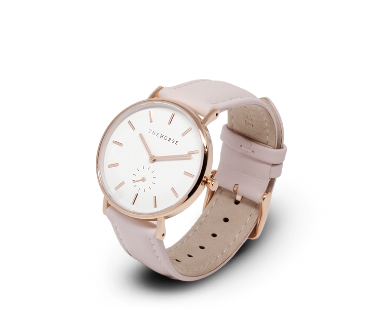B10 The Horse Classic watch in Rose Gold, White dial with Pink leather