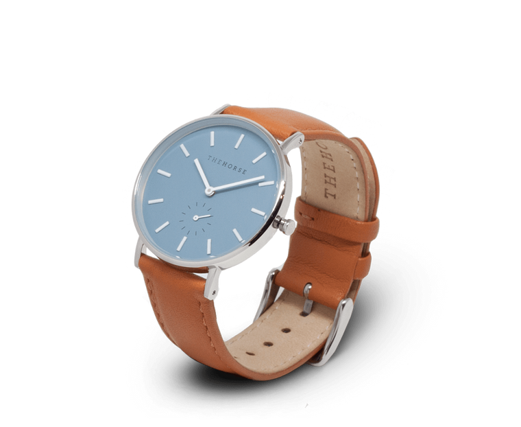 The Horse Classic watch in Silver and Sea Salt Blue with Tan