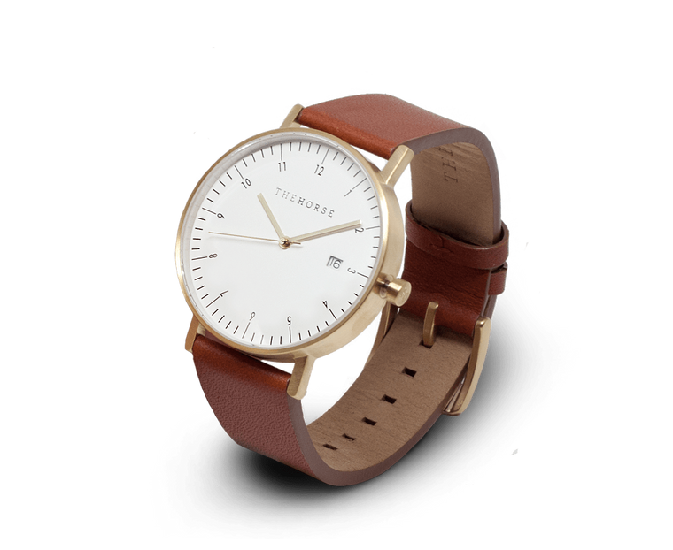 The Horse D-Series watch in Brushed Gold and Coffee