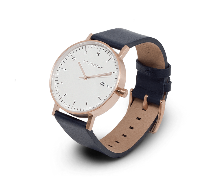 The Horse D-Series watch in Brushed Rose Gold and Navy