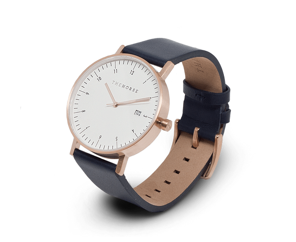 The Horse Watches The Horse D-Series watch in Brushed Rose Gold and Navy
