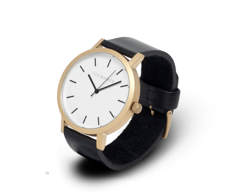 The Horse Original watch in Brushed Gold, White and Black