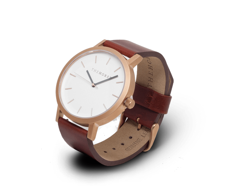 The Horse Original watch in Brushed Rose Gold, White and Walnut
