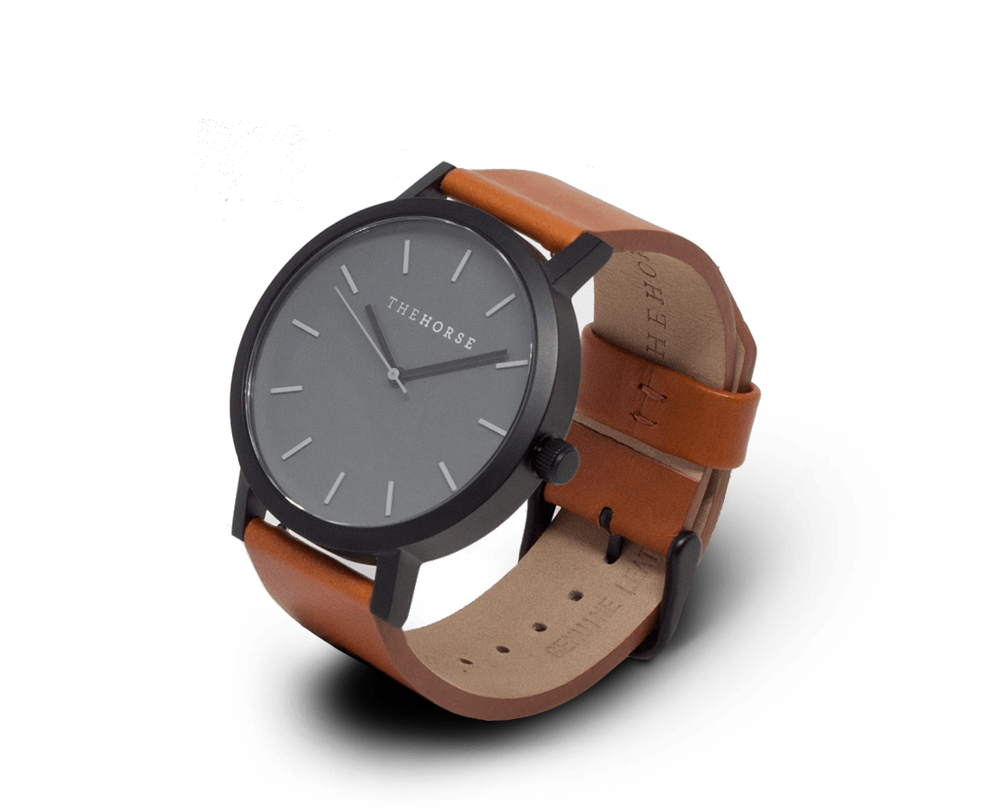 The Horse Watches The Horse Original watch in Matte Black (Grey) Tan (Brown)