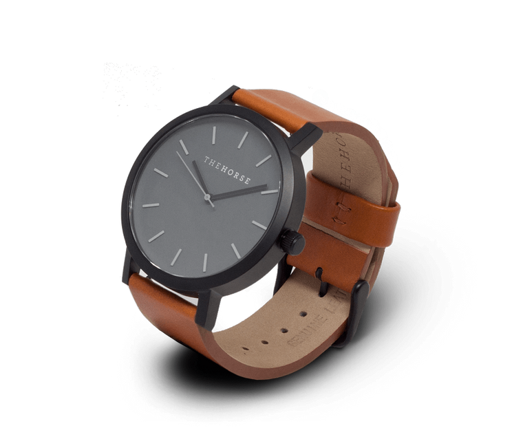A4 The Horse Original watch in Matte Black (Grey) Tan (Brown)