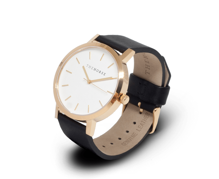 The Horse Original watch in Polished Gold and White with Black