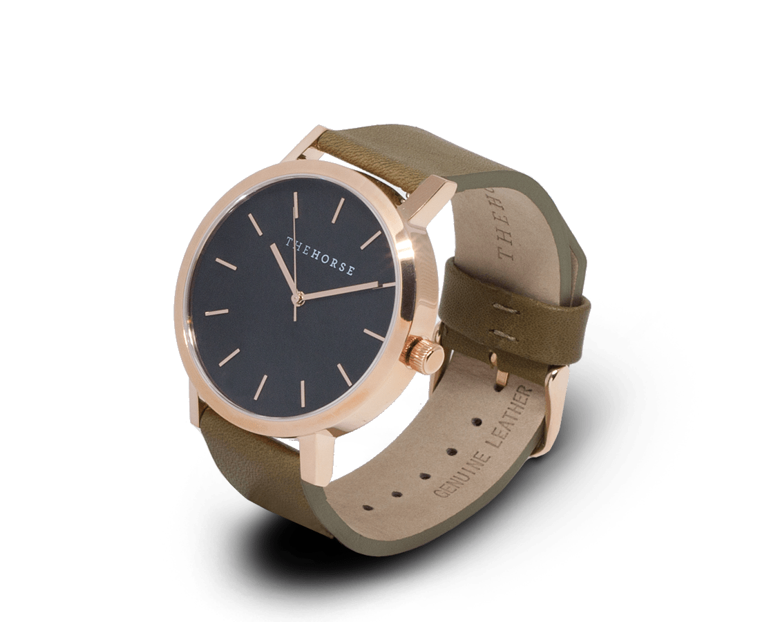 The Horse Watches The Horse Original watch in Polished Rose Gold and Black with Olive