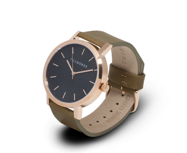 The Horse Original watch in Polished Rose Gold and Black with Olive