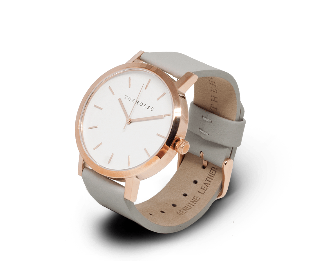 The Horse Watches The Horse Original watch in Polished Rose Gold and White with Grey