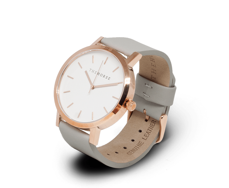The Horse Original watch in Polished Rose Gold and White with Grey