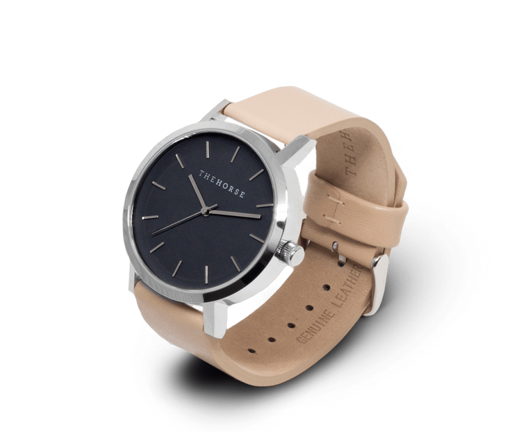 The Horse Original watch in Polished Steel and Black with Veg Tan