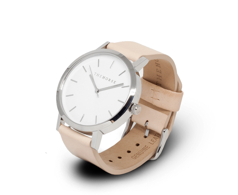 The Horse Original watch in Steel, White and Veg Tan