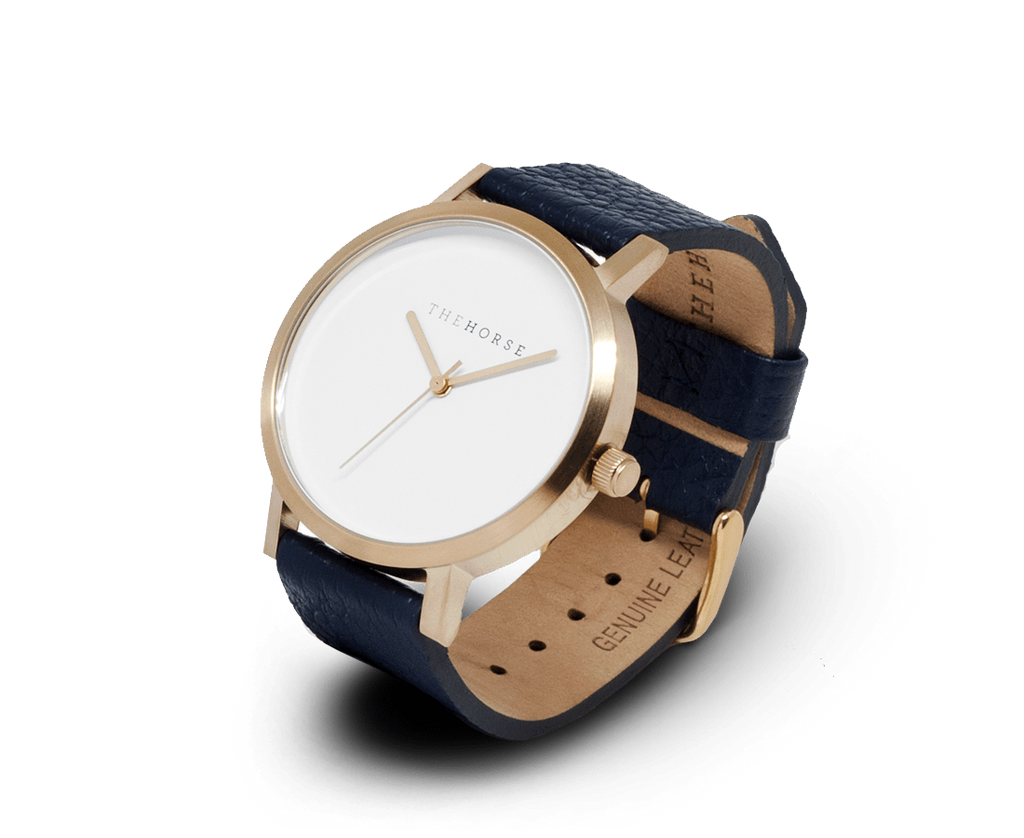 The Horse Watches The Horse Original watch with Brushed Gold and Navy band