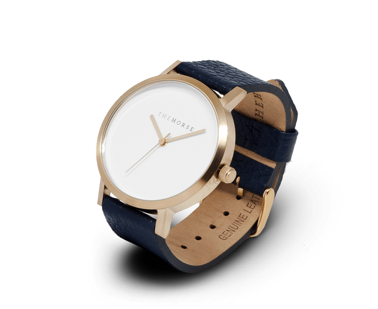 The Horse Original watch with Brushed Gold and Navy band
