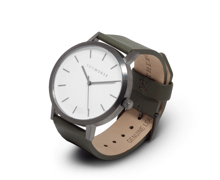 A20 The Horse Original watch with Brushed Gunmetal, White with Khaki band