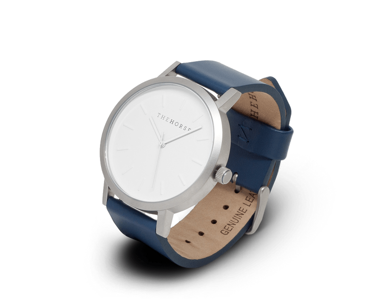 The Horse Original watch with Brushed Silver and Navy band