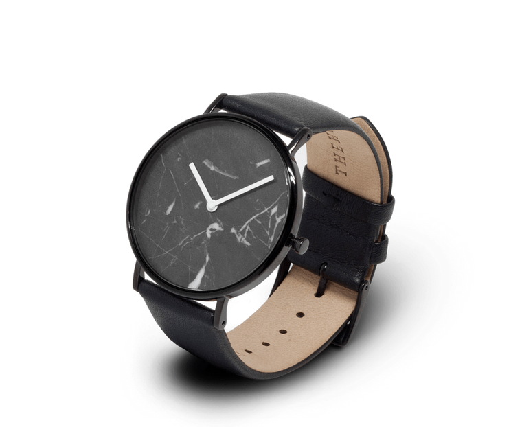 The Horse watch in Polished Black and Black Marble with Black strap