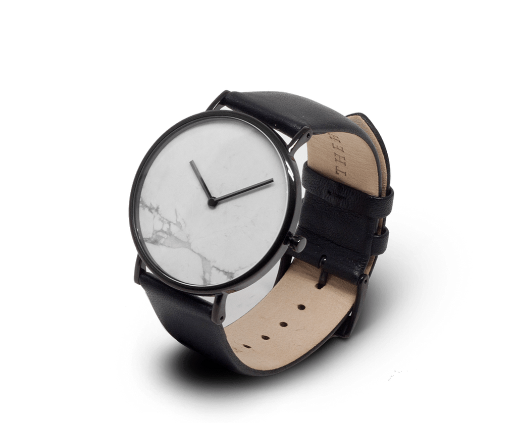 The Horse Watches The Horse watch in Polished Black with White Marble and Black strap