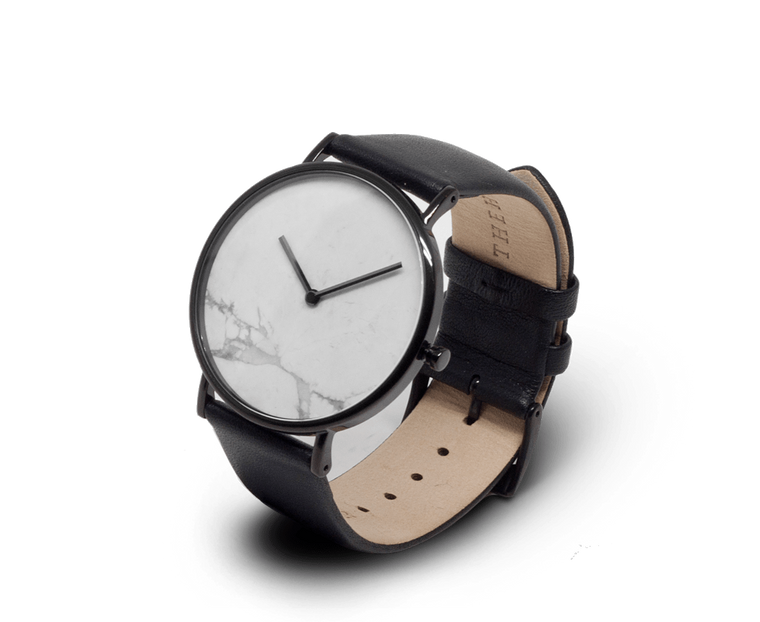 The Horse watch in Polished Black with White Marble and Black strap