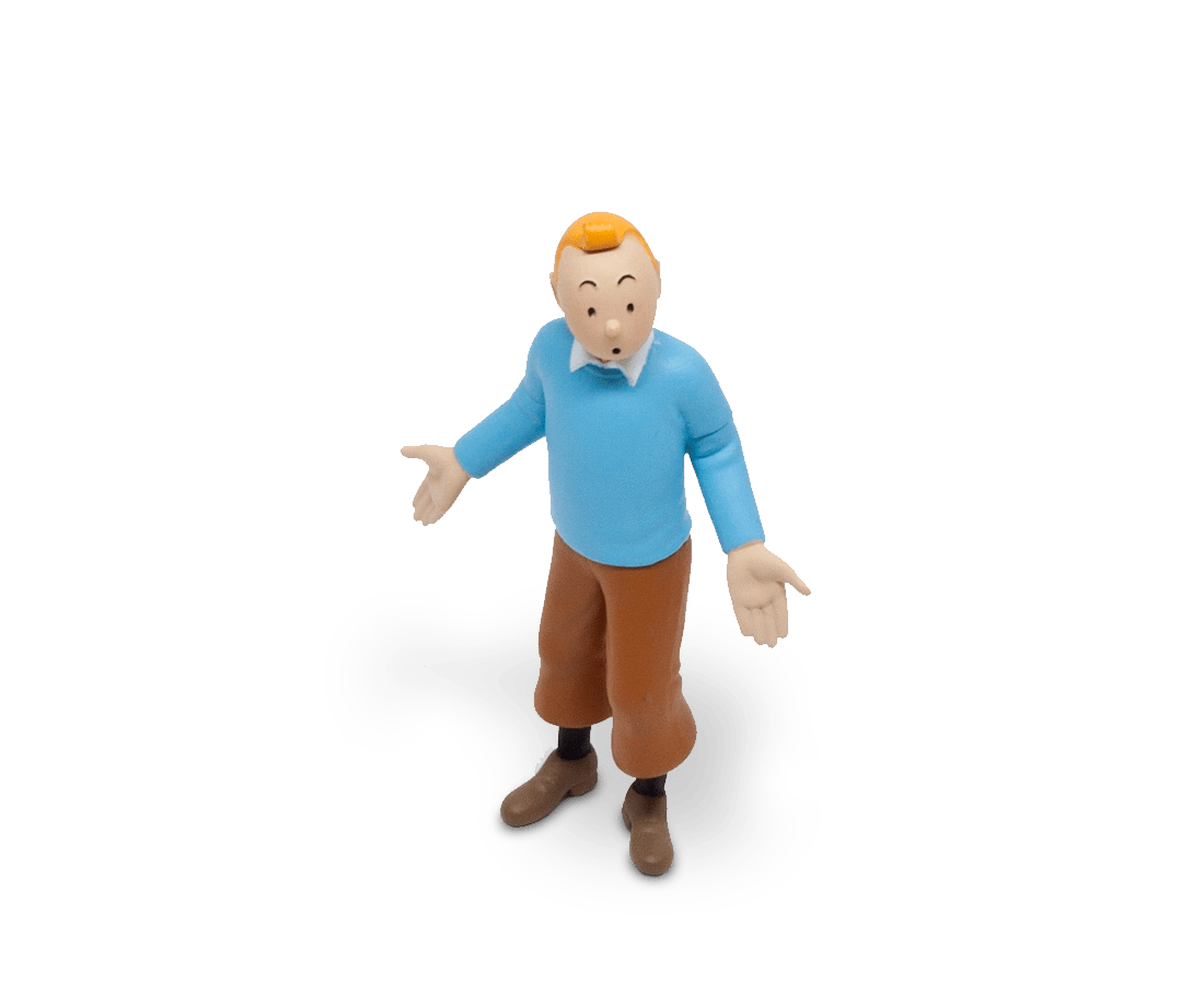 Tintin in his blue pullover figurine (8.5cm). Moulinsart. Compendium Design Store. AfterPay, ZipPay accepted.