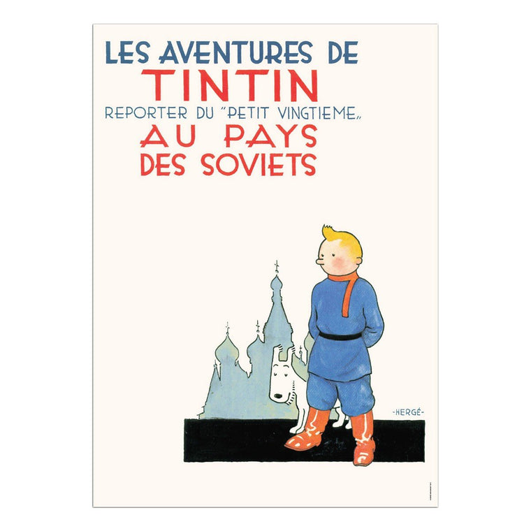 The Adventures of Tintin: Tintin au Pays des Soviets Poster in French. (Album) 50x70cm