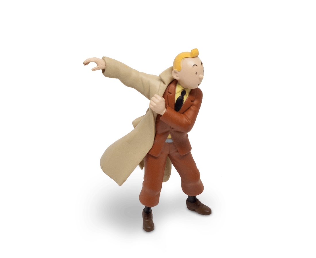 Tintin Puts On His Trench (Large) PVC Figurine 8.5cm. Compendium Design Store, Fremantle. AfterPay, ZipPay accepted.