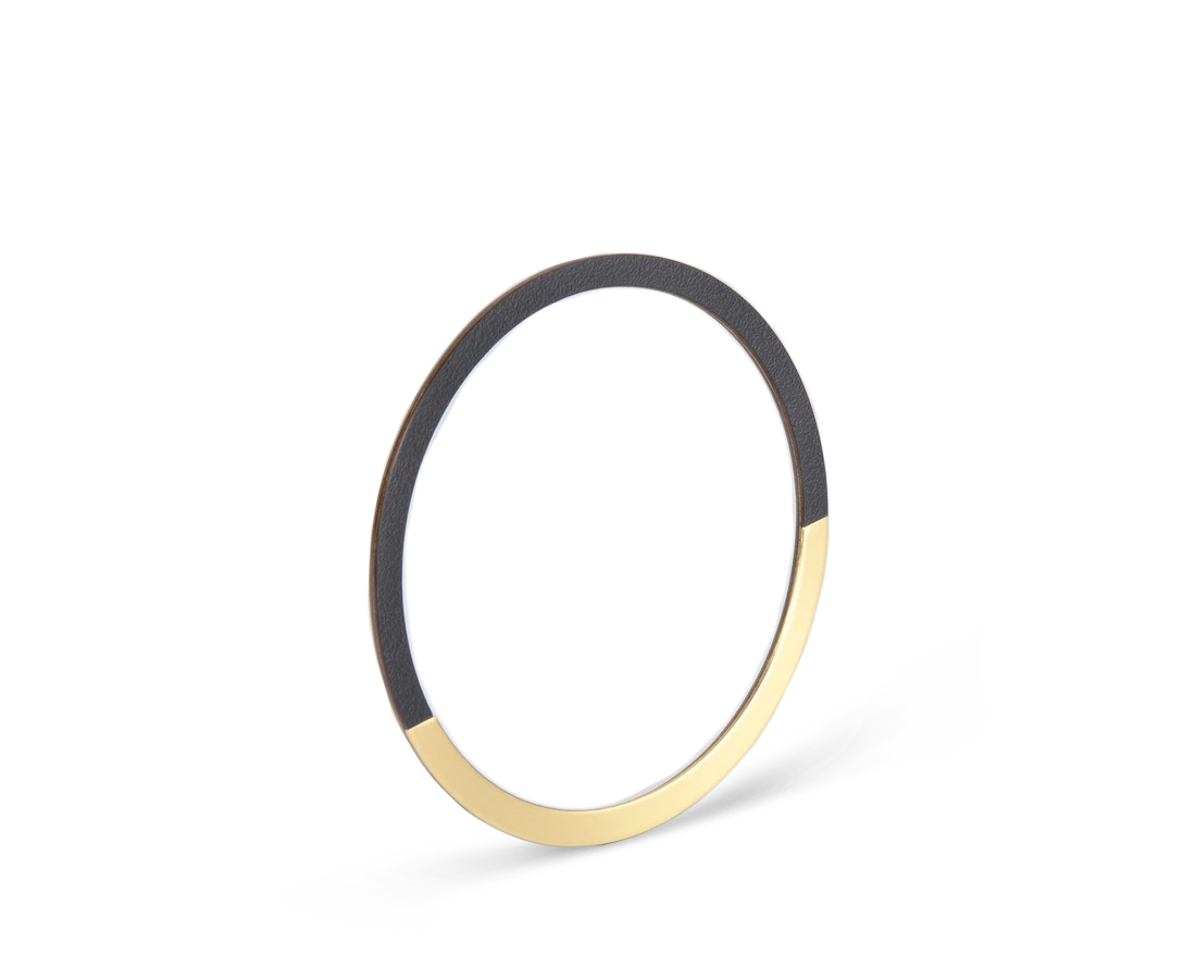Tom Pigeon Form Series Circle Bangle in Brass & Midnight Blue