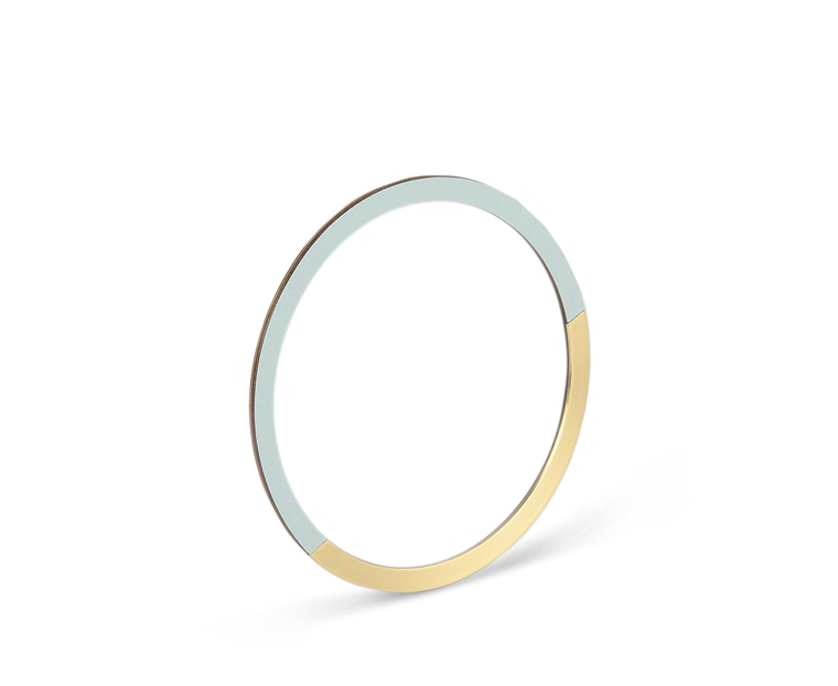 Tom Pigeon Form Series Circle Bangle in Brass & Ice Blue