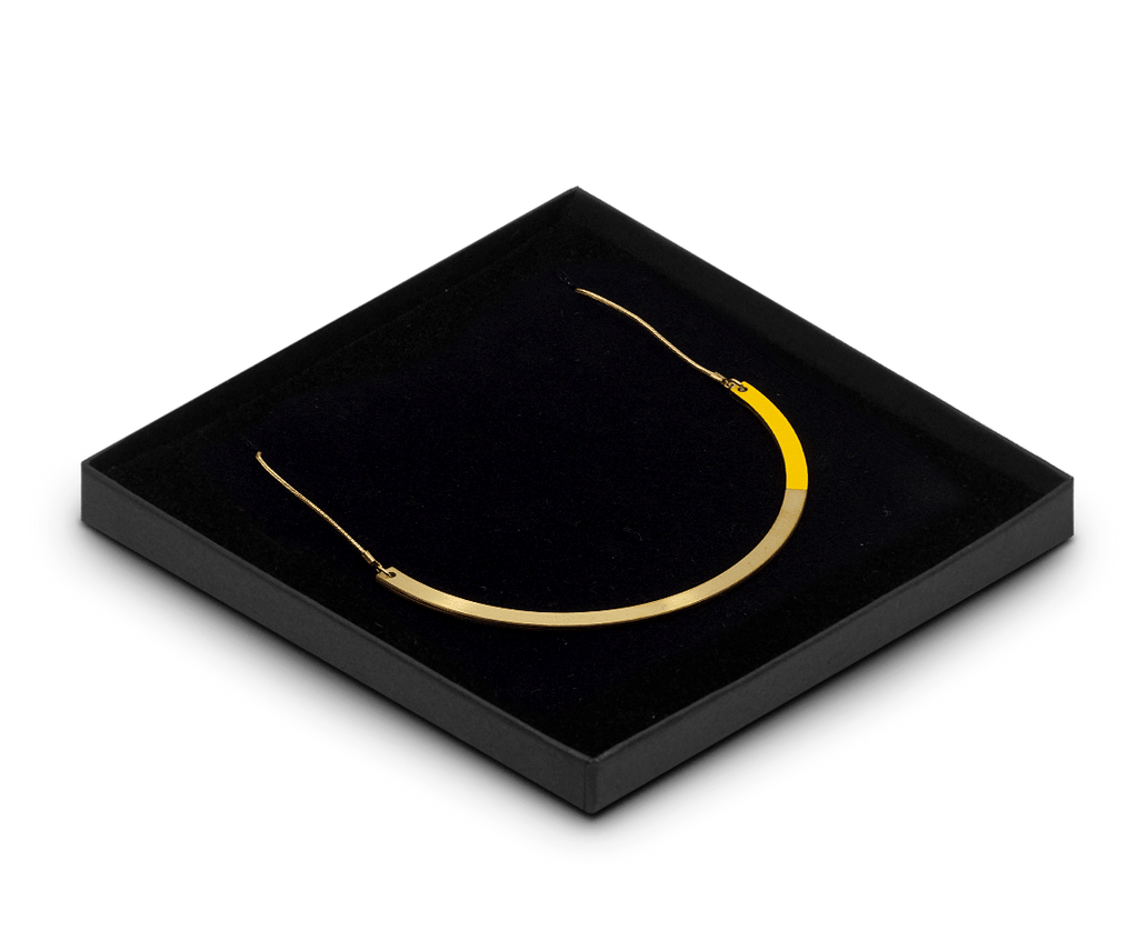 Tom Pigeon Form Series Circle Necklace in Brass & Yellow. Compendium Design Store, Fremantle. AfterPay, ZipPay accepted.