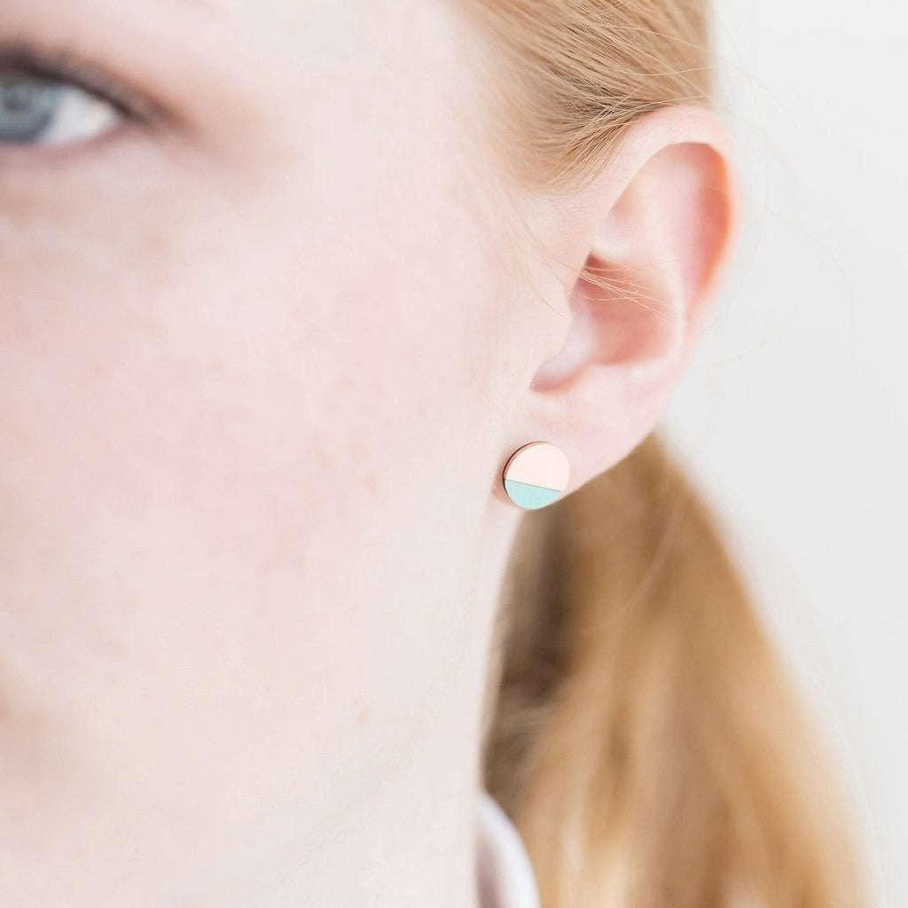 Tom Pigeon Jewellery FORM circle earrings in Copper & Mint