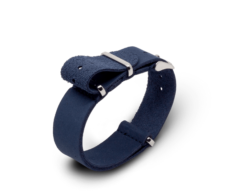 Leather Nato Watch Strap in Blue with Silver Hardware
