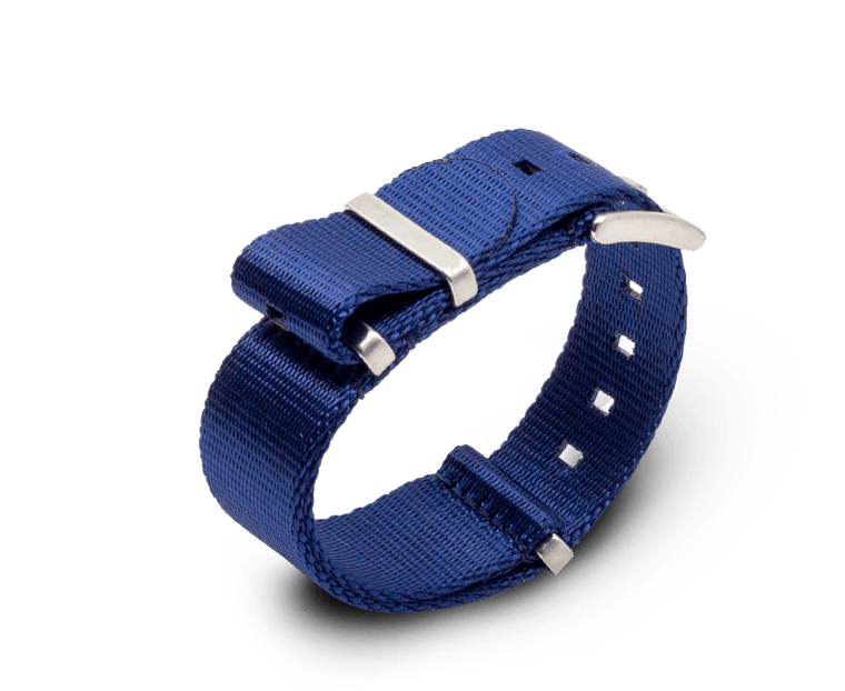 Nato Watch Strap in Premium 'Seat Belt' Navy with Silver Hardware