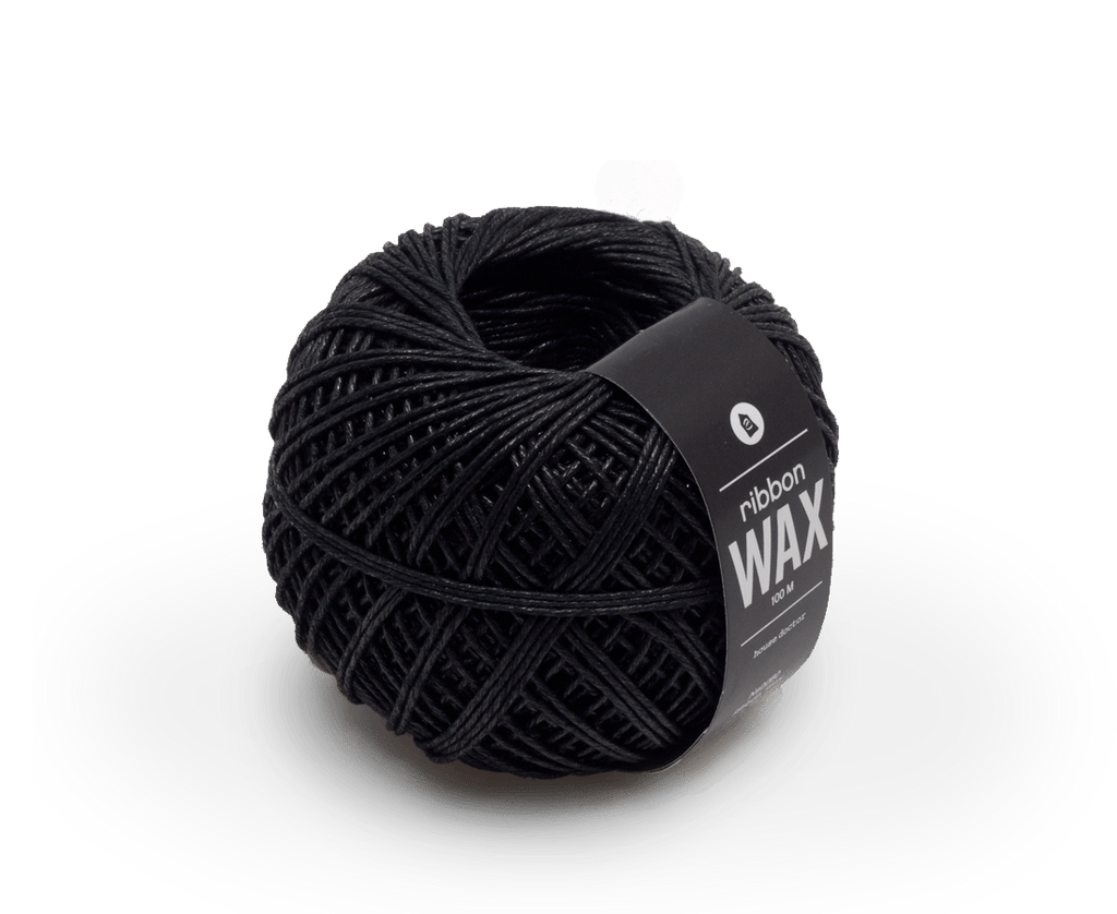 Waxed Jute Ribbon 100m Black. Monograph. Compendium Design Store. AfterPay, ZipPay accepted.