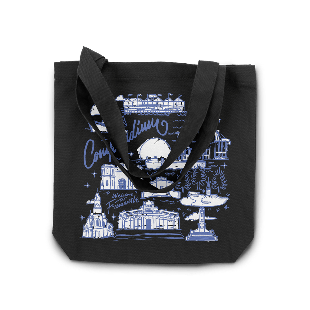 Freo Goods Co Welcome To Fremantle Tote Bag in Black. Compendium Design Store, Fremantle. AfterPay, ZipPay accepted.
