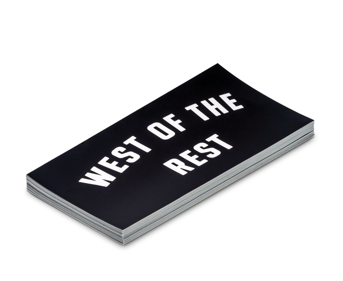 'West of the Rest' Bumper Sticker. Compendium Design Store, Fremantle. AfterPay, ZipPay accepted.
