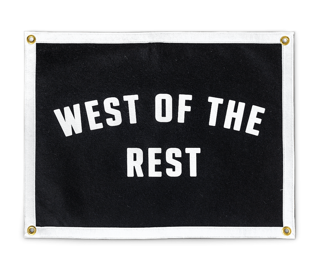 Freo Goods Co 'West Of The Rest' Camp Flag. Compendium Design Store, Fremantle. AfterPay, ZipPay accepted.