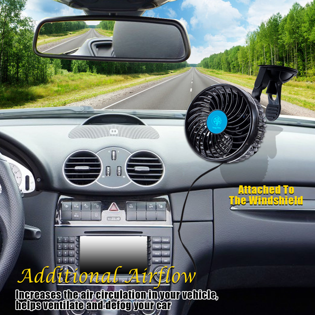 Vaygway 12v Dual Head Car Auto Cooling Air Fan Stepless Speed Cool