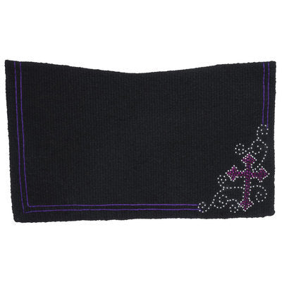 "Crystal Cross Contoured Wool Saddle Blanket, 28"" x 30"""