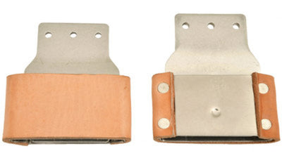 Leather Covered Blevins Buckles, pair